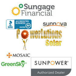 Solar Financing Partners, including Sunpower, Sungage, Sunnova